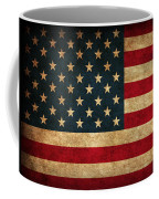 United States American Usa Flag Vintage Distressed Finish On Worn Canvas Coffee Mug by Design Turnpike