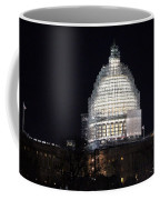 United States Capitol Dome Scaffolding At Night Coffee Mug
