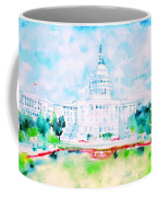 United States Capitol - Watercolor Portrait Coffee Mug