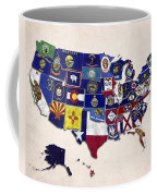United States Map With Fifty States Coffee Mug
