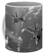 U.s. Air Force F-22 Raptors In Flight Near Guam. Coffee Mug