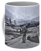 U.s. Air Force Pilot Standing In Front Coffee Mug by Terry Moore