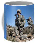 U.s. Army Soldiers Scan The Terrain Coffee Mug