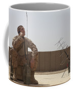 U.s. Marine Looks Up To The Sky While Coffee Mug