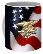 U. S. Navy S E A Ls Emblem Over American Flag Coffee Mug
