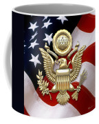 U. S. A. Great Seal In Gold Over American Flag  Coffee Mug