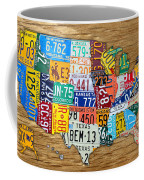 Usa License Plate Map Car Number Tag Art On Light Brown Stained Board Coffee Mug by Design Turnpike