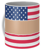 Usa Wrapping Paper Torn Through The Centre Coffee Mug