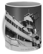 Uss Iowa Battleship Portside Bridge 01 Bw Coffee Mug