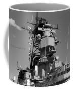 Uss Iowa Battleship Starboardside Bridge 02 Bw Coffee Mug