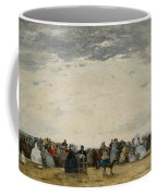 Vacationers On The Beach At Trouville Coffee Mug by Eugene Louis Boudin
