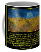 Van Gogh Motivational Quotes - Wheatfield With Crows Coffee Mug