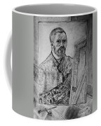 Van Goghs Self Portrait Painting Placed In His Room In Arles France Coffee Mug