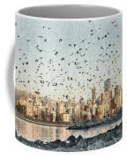 Vancouver Skyline With Crows Coffee Mug