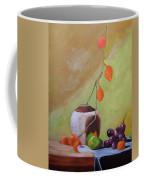 Vase With Orange Leaves And Fruit Coffee Mug