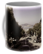 Vehicles On A Busy Road Also Used By The Tram Service Coffee Mug