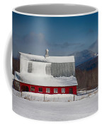 Vermont Barn In Snow With Mountain Behind Coffee Mug