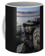Vermont Lake Champlain Sunset Cloudscape Rocks Coffee Mug