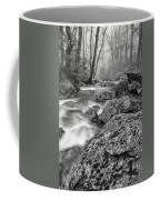 Vermont River Fog Mount Mansfield Black And White Coffee Mug