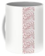 Vertical Panoramic Grunge Etching Burgundy Color Coffee Mug