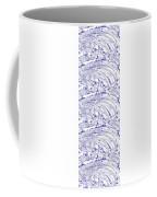 Vertical Panoramic Grunge Etching Royal Blue Color Coffee Mug