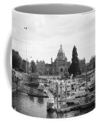 Victoria Harbour With Parliament Buildings - Black And White Coffee Mug by Carol Groenen