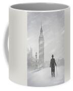Victorian Man In London With Snow Walking Towards Big Ben Coffee Mug