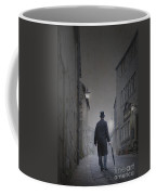 Victorian Man In Top Hat On A Cobbled Road At Night Coffee Mug