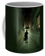Victorian Man With Top Hat Carrying A Suitcase And Umbrella Walking In The Narrow Street At Night Coffee Mug