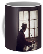 Victorian Man Writing With A Quill At His Desk Coffee Mug