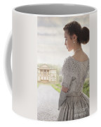 Victorian Woman Approaching A Country Manor House Coffee Mug