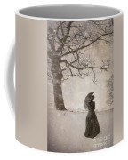 Victorian Woman In Snow Storm Coffee Mug