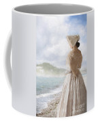Victorian Woman On The Beach Looking Out To Sea Coffee Mug