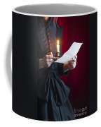 Victorian Woman Reading A Letter By Candle Light Coffee Mug
