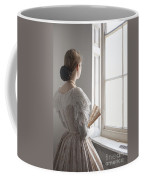 Victorian Woman With A Fan At The Window Coffee Mug