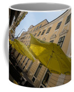 Vienna Street Life - Cheery Yellow Umbrellas At An Outdoor Cafe Coffee Mug