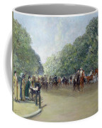 View Of Hyde Park With Figures On Rotten Row  Coffee Mug by Albert Jnr Ludovici