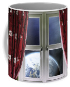 View Of The Earth Through A Window With Curtains Coffee Mug