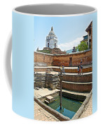View Of White Temple From Pool Area Behind Bhaktapur Durbar Square In Bhaktapur-nepal - Coffee Mug