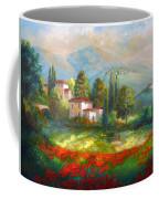 Village With Poppy Fields  Coffee Mug