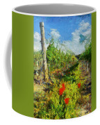 Vineyard And Poppies Coffee Mug
