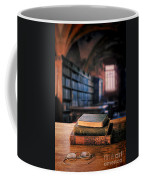 Vintage Books And Glasses In An Old Library Coffee Mug