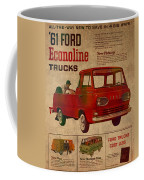Vintage Car Advertisement 1961 Ford Econoline Truck Ad Poster On Worn Faded Paper Coffee Mug