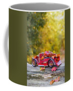Vintage Car With Autumn Leaves Coffee Mug