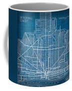 Vintage Detroit Rail Concept Street Map Blueprint Plan Coffee Mug