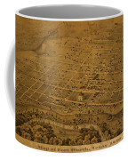 Vintage Fort Worth Texas In 1876 City Map On Worn Canvas Coffee Mug by Design Turnpike