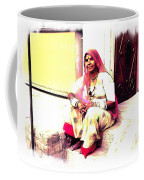 Vintage Just Sitting 2 - Woman Portrait - Indian Village Rajasthani Coffee Mug