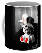 Vintage Lady Head Vase - Black And White With Red Coffee Mug