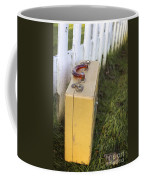 Vintage Luggage Left By A White Picket Fence Coffee Mug