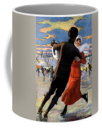 Vintage Poster Couples Skating At Christmas On Frozen Pond Coffee Mug